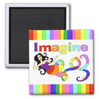 Imagine Rainbow Mermaid Fridge Magnets