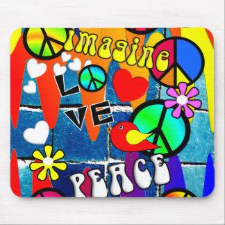 Imagine Retro Peace Symbols Mouse Pad