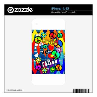 Imagine Retro Peace Symbols Skin For iPhone 4