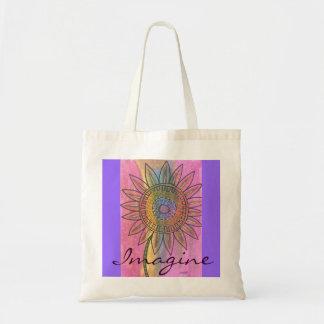 Imagine Tie-Dye Peace Flower Tote Bag