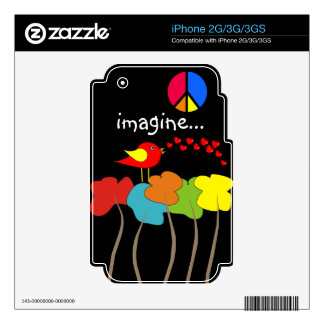 Imagine Trees, Peace Sign and Bird Design Skins For The iPhone 2G