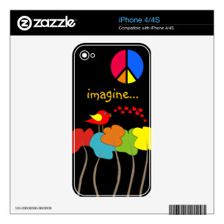 Imagine Trees, Peace Sign and Bird Design Decal For iPhone 4S