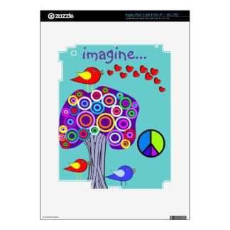 Imagine Trees, Peace Sign and Bird Design iPad 3 Skins