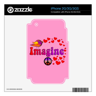 Imagine Trees, Peace Sign and Bird Design Decal For The iPhone 3G