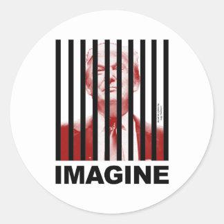 Imagine Trump Behind Bars Classic Round Sticker