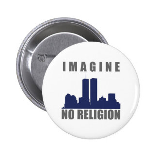 Imagine Twin Towers sillouette Pinback Button