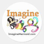 Imagínese a los pegatinas de la musa de la sirena pegatina redonda