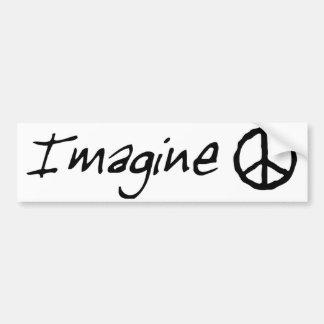 Imagínese al pegatina de Bumber de la paz Pegatina De Parachoque