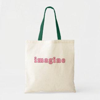 Imagínese con las letras rosadas bolsa lienzo