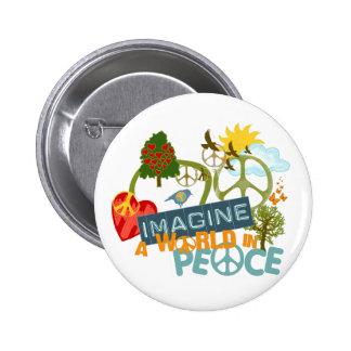 Imagínese el arte de Abtract de la paz Pin Redondo De 2 Pulgadas