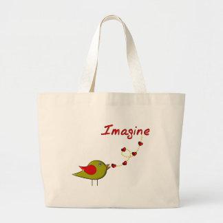 """""""Imagínese"""" el diseño del pájaro y de los corazone Bolsas"""
