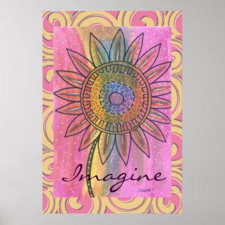 Imagínese el poster de la flor del teñido anudado  póster