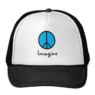 Imagínese el símbolo de paz AZUL Gorras