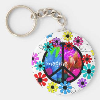 Imagínese el símbolo de paz y las flores retras llavero redondo tipo pin