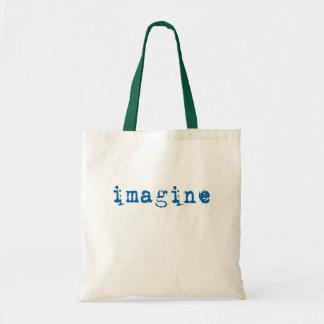Imagínese en fuente de máquina de escribir azul bolsa de mano