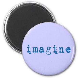 Imagínese en fuente de máquina de escribir azul imán redondo 5 cm