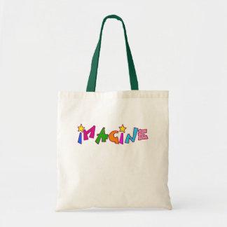 Imagínese en letras coloridas bolsas de mano