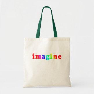 Imagínese en letras del color del arco iris bolsa