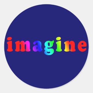 Imagínese en letras del color del arco iris etiqueta