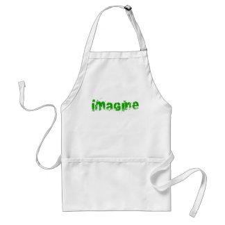 Imagínese en letras verdes delantal