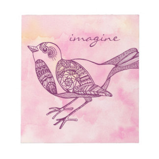 """""""Imagínese"""" la libreta del pájaro en acuarela Bloc De Notas"""
