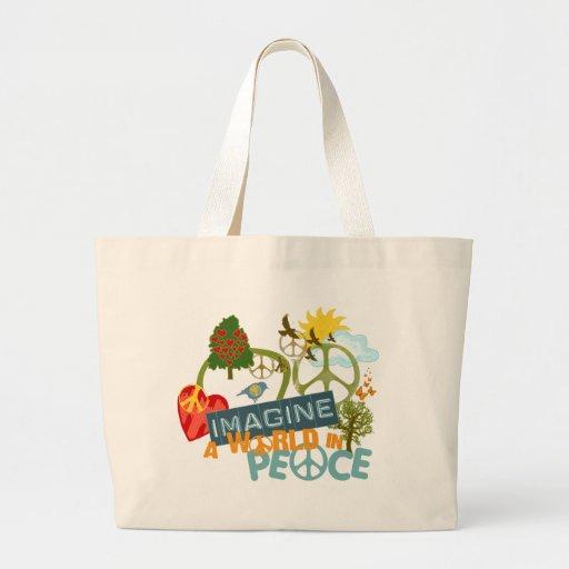 Imagínese la paz de mundo bolsas de mano