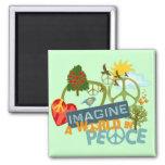 Imagínese la paz de mundo iman de frigorífico