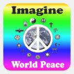 Imagínese la paz de mundo pegatina cuadradas personalizada