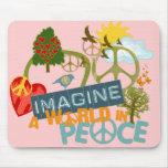 Imagínese la paz de mundo tapetes de ratones