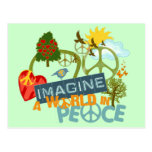 Imagínese la paz de mundo tarjeta postal