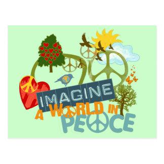 Imagínese la paz de mundo tarjetas postales