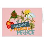 Imagínese la paz de mundo tarjeton