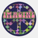 Imagínese la paz etiqueta redonda