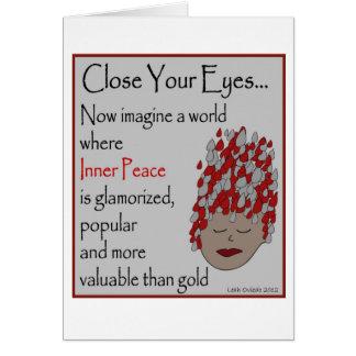 Imagínese la paz interna tarjeta de felicitación