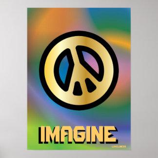 Imagínese la paz interna verdadera - cartel Cust Posters