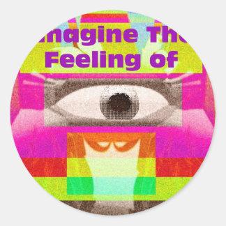 Imagínese la sensación pegatina redonda