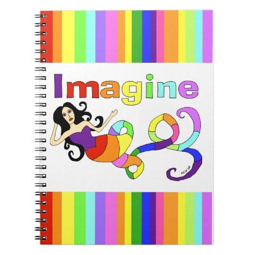 Imagínese la sirena del arco iris libros de apuntes con espiral