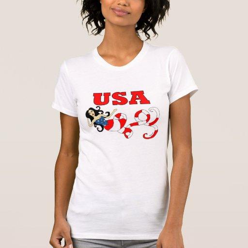 Imagínese la sirena los E.E.U.U. Camiseta