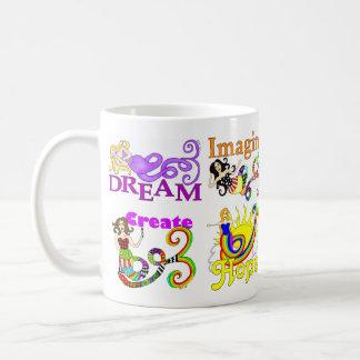Imagínese la sirena y el collage de los amigos taza de café
