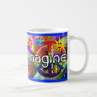 """""""Imagínese"""" los regalos de los años 70 de Psychade Taza Básica Blanca"""