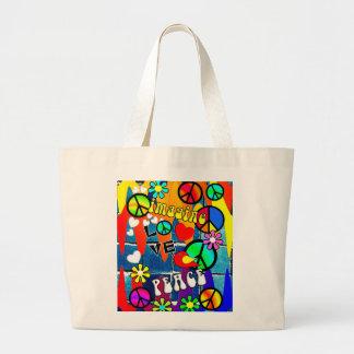 Imagínese los símbolos de paz retros bolsa