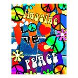Imagínese los símbolos de paz retros membrete personalizado