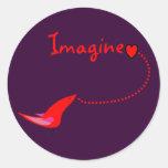 """""""Imagínese""""---Regalos de Juan Etiquetas Redondas"""