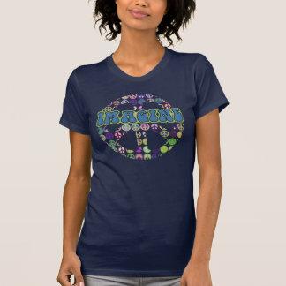 Imagínese retro azul de la paz camisetas