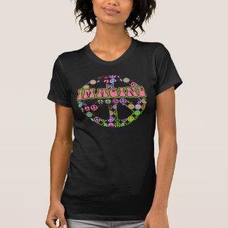 Imagínese retro rosado de la paz camisetas