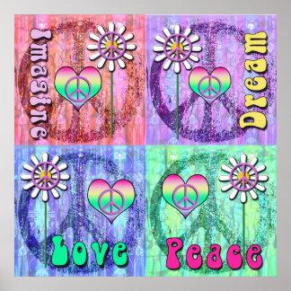 Imagínese, soñe, paz, poster del amor