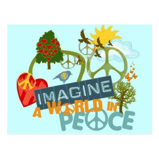 Imagínese un mundo en paz tarjetas postales