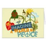 Imagínese un mundo en paz tarjeton