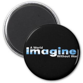 Imagínese un mundo sin guerra imán redondo 5 cm