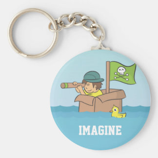 Imagining an adventure with cardboard boxes keychain